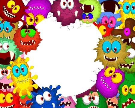 Cartoon bacteria collection set for you design Vector