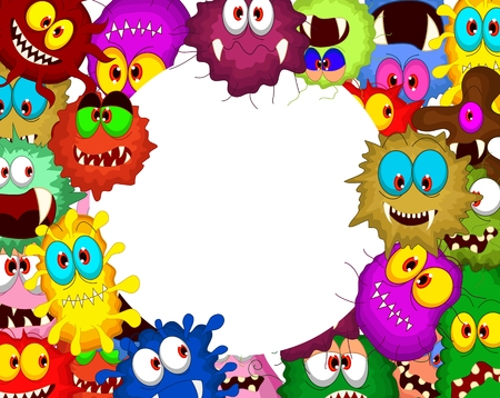 Cartoon bacteria collection set for you design Vector