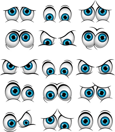 fear cartoon: Cartoon faces with various expressions for you design Illustration