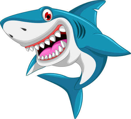 funny animals: angry shark cartoon Illustration