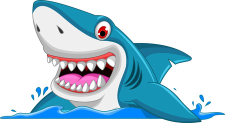 swimming underwater: angry shark cartoon Illustration