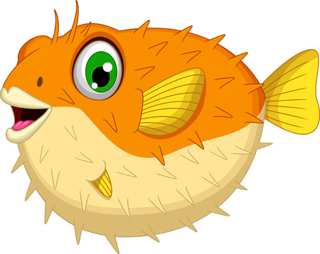 blowfish: cute Blowfish or diodon holocanthus cartoon Illustration