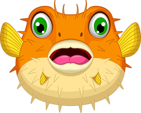 blow up: cute Blowfish or diodon holocanthus cartoon Illustration