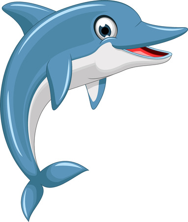 delfin: Skoki delfinów cartoon słodkie Ilustracja