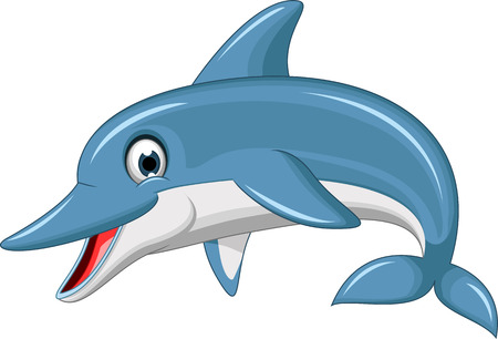 cute dolphin cartoon Illustration