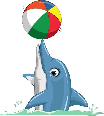 cute dolphin cartoon playing ball Vettoriali