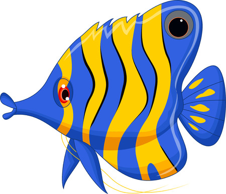 aquatic animal: cute cartoon angel fish