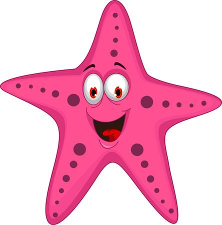 estrella caricatura: estrella de mar de divertidos dibujos animados  Vectores