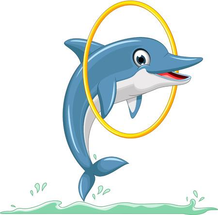cute dolphin cartoon jumping