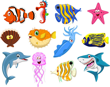sea life cartoon collection Vectores