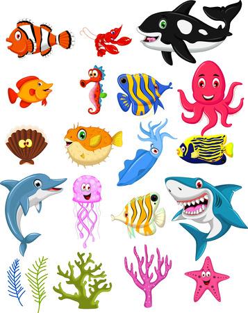 cangrejo: colección de dibujos animados la vida marina Vectores
