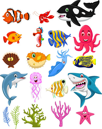 sea life cartoon collection Ilustracja