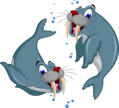 blubber: illustration of Cartoon walrus couple