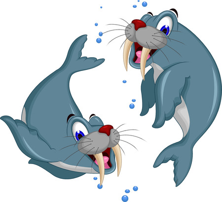 illustration of Cartoon walrus couple
