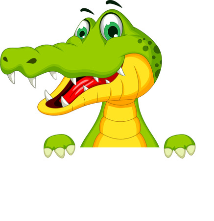 Cartoon crocodile holding blank sign