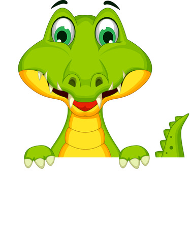 timid: Cartoon crocodile holding blank sign