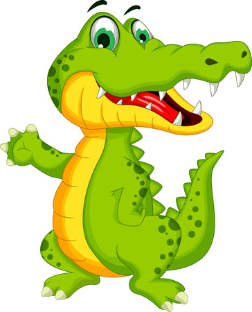 alligator: Cartoon crocodile posing