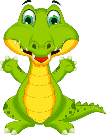 timid: Cartoon crocodile posing