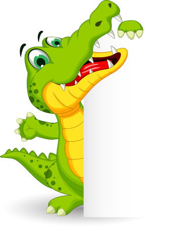 alligator: Cartoon crocodile holding blank sign