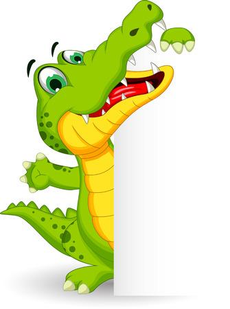 Cartoon crocodile holding blank sign