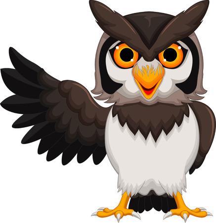 head wise: Cute owl cartoon waving