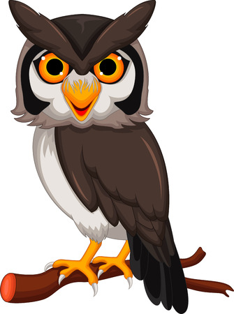 young animal: Cute owl cartoon posing Illustration