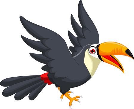 parrot flying: Cute cartoon toucan bird flying
