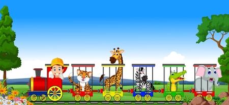 hipopotamo cartoon: Tren de la historieta Animal Vectores