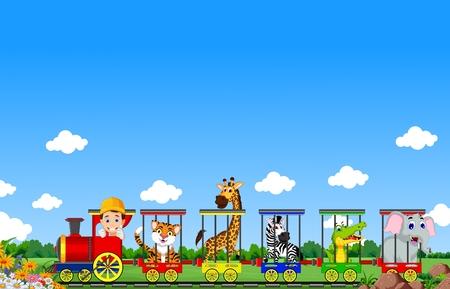 animaux zoo: Animaux de bande dessinée de train Illustration