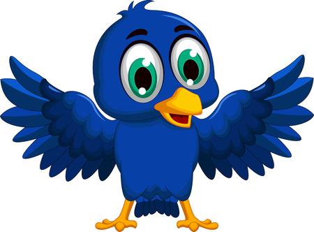 eurasian: blue bird cartoon