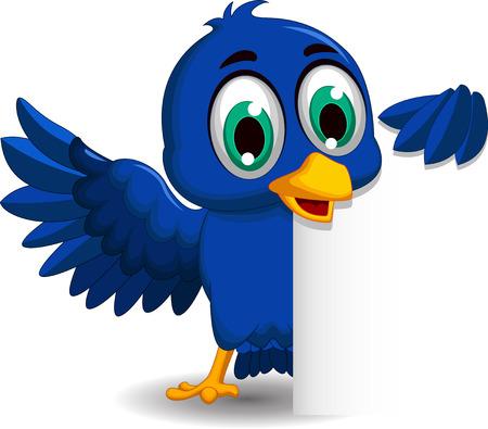 pajaro azul: historieta del p�jaro azul con signo en blanco
