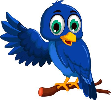 dessin animé oiseau bleu