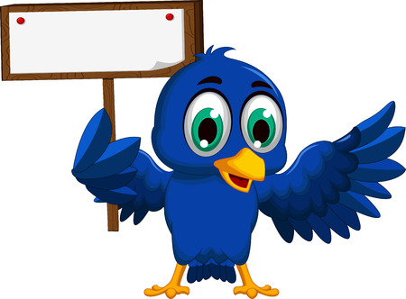 yello: blue bird cartoon holding blank board
