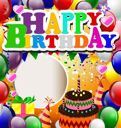 happy birthday background with colorful balloons Illustration