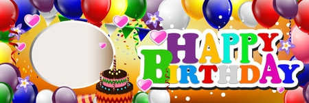 funky background: happy birthday background with colorful balloons Illustration