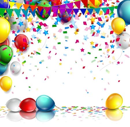 verjaardag met kleurrijke ballon en confetti op een witte achtergrond