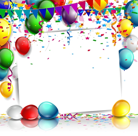carnival party: birthday with colorful balloon and confetti on white background