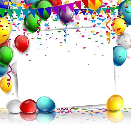 felicitaciones cumplea�os: cumplea�os con globos de colores y confeti sobre fondo blanco