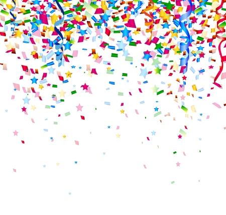 Fiesta: confeti de colores sobre fondo blanco