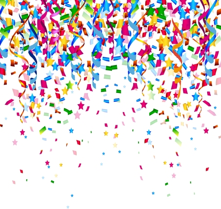 fun festival: colorful confetti on white background Illustration