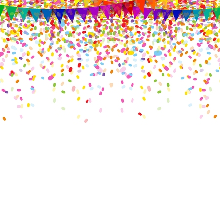 colorful confetti on white background Иллюстрация