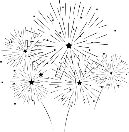 silhouette of fireworks Illustration