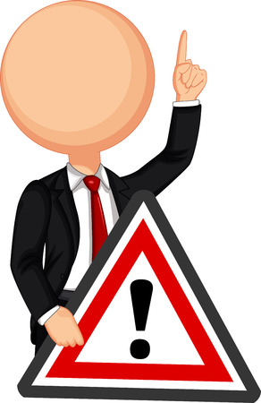formal: Businessman holding a red traffic triangle warning sign Illustration