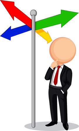 right path: Businessman confused Illustration