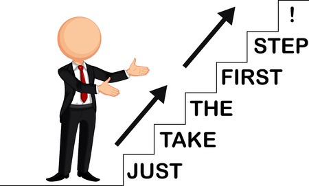 first step: businessman by showing just take the first step Illustration