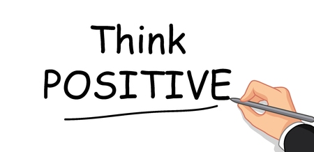 think: hand writing Think Positive Illustration