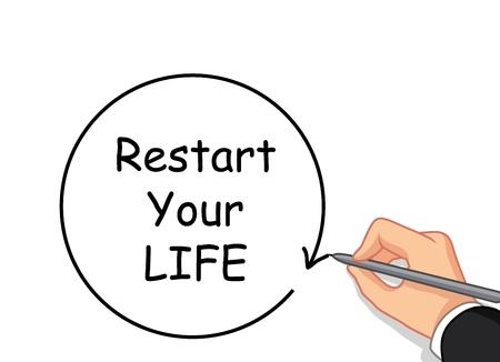 hand writing: hand writing Restart your life