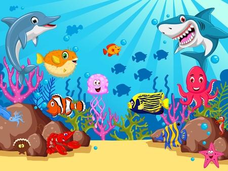shark cartoon: animales del mar divertido conjunto de dibujos animados