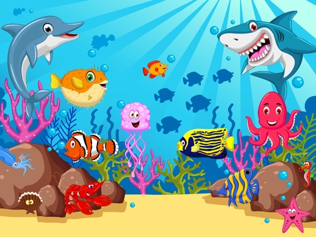 funny sea animals cartoon set 矢量图像