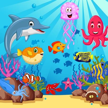 funny sea animals cartoon set  イラスト・ベクター素材